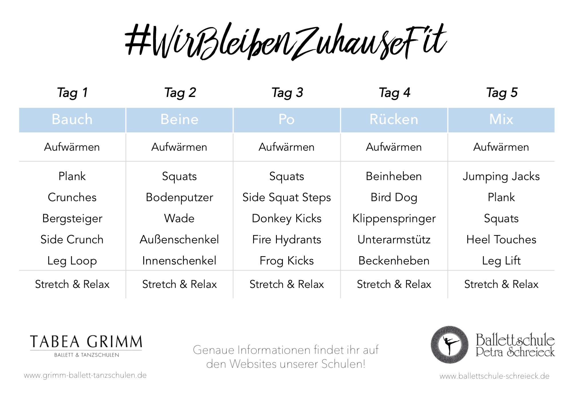 #WirBleibenZuhauseFit - Trainingsplan